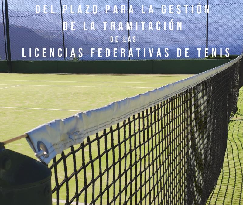 Tramitación de licencias de tenis 2019